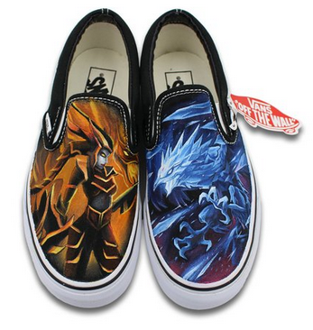 Vans Shoes Hand Painted Men Women Cryophoenix Half-dragon Slip O