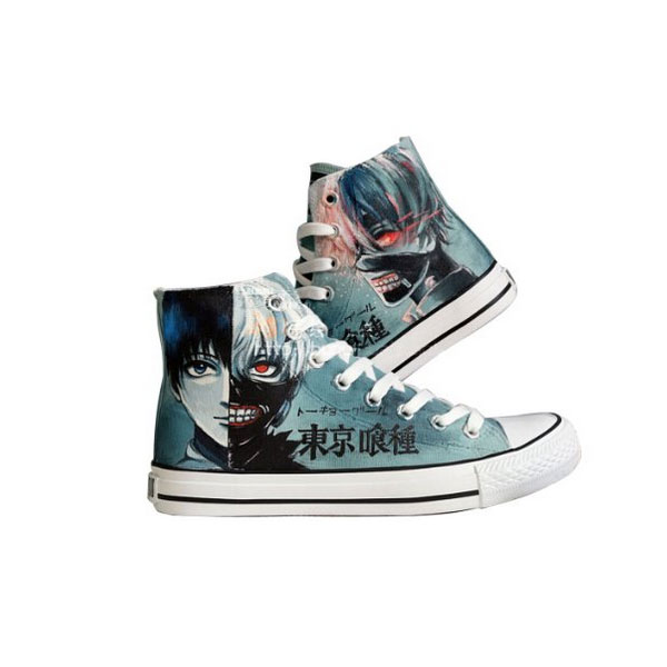 Tokyo Ghoul Ken Kaneki Cosplay Canvas Shoes Hand-painted Shoes S