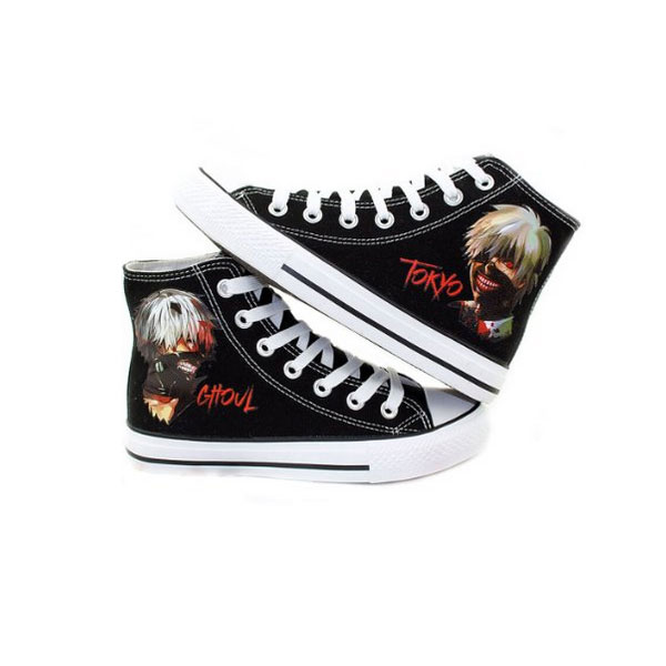 Tokyo Ghoul Anime Cosplay Shoes Canvas Shoes Sneakers Black/Whit