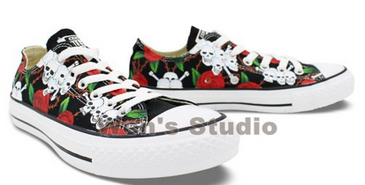 Rose Skull Chuck Taylor Converse Shoes Hand Painted All Star Wom-2