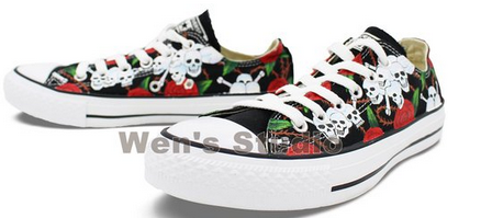 Rose Skull Chuck Taylor Converse Shoes Hand Painted All Star Wom-3