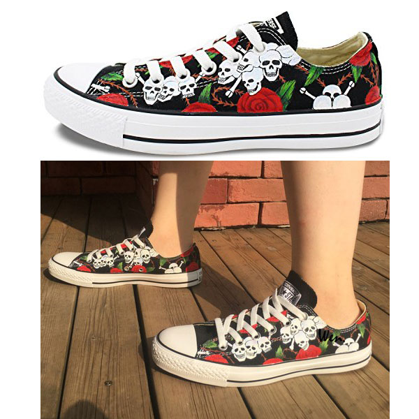Rose Skull Chuck Taylor Converse Shoes Hand Painted All Star Wom