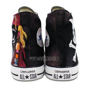Mens Painted Shoes Converse All Star Skull Pirates High Fashion -2