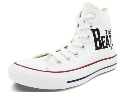 The Beatles White Converse All Star Shoes Hand Painted Customiza-1