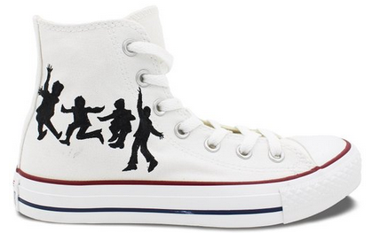 The Beatles White Converse All Star Shoes Hand Painted Customiza