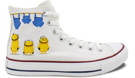 Custom Converse Minions Painted Shoes All Star High Top Unique C-1