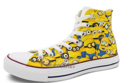 Custom Converse Minions Painted Shoes All Star High Top Unique C-2