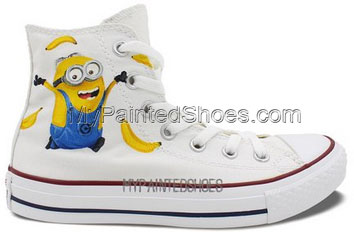 Converse All Star Men Women Minions Banana Hand Painted High Top-1