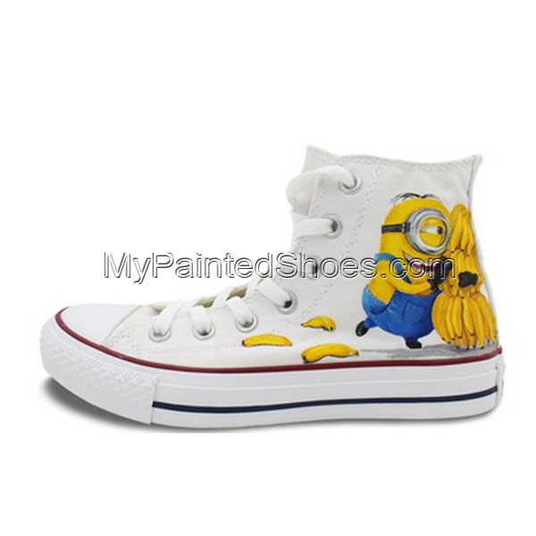 Converse All Star Men Women Minions Banana Hand Painted High Top
