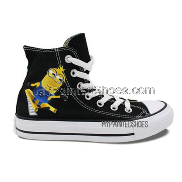 Converse All Star Minions Cartoon Hand Painted Unisex Black Canv-1