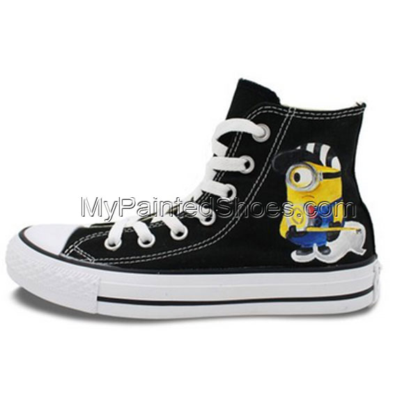 Converse All Star Minions Cartoon Hand Painted Unisex Black Canv