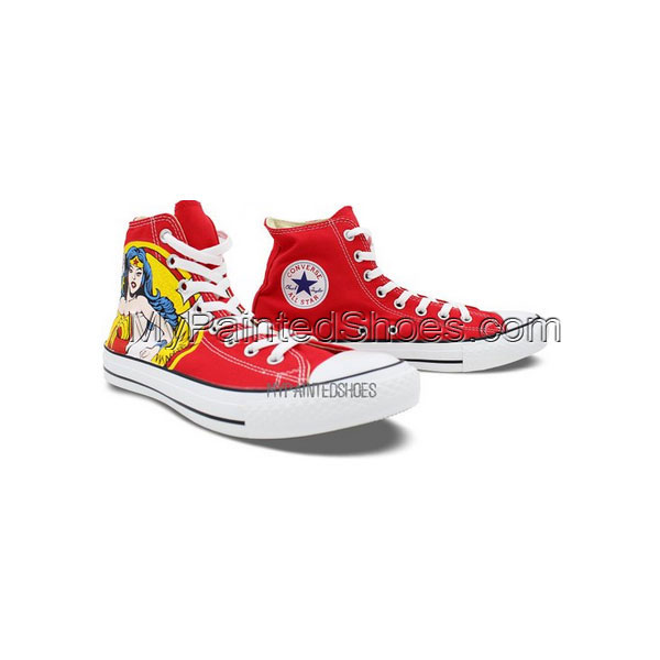 High Top Converse Shoes Womens Wonder Woman Hand Painted Custom-2
