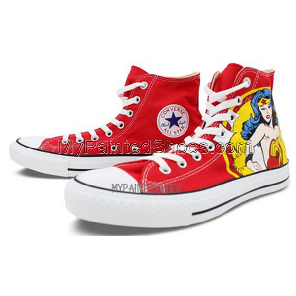 High Top Converse Shoes Womens Wonder Woman Hand Painted Custom-3