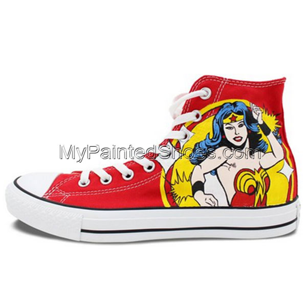 High Top Converse Shoes Womens Wonder Woman Hand Painted Custom