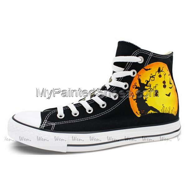 Converse All Star Unisex's Halloween Pumpkin Hand Painted Chuck -2
