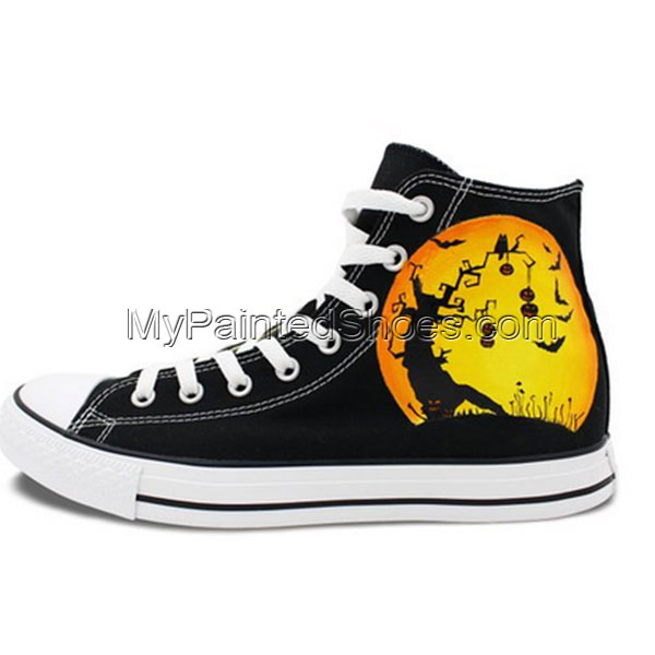 Converse All Star Unisex's Halloween Pumpkin Hand Painted Chuck