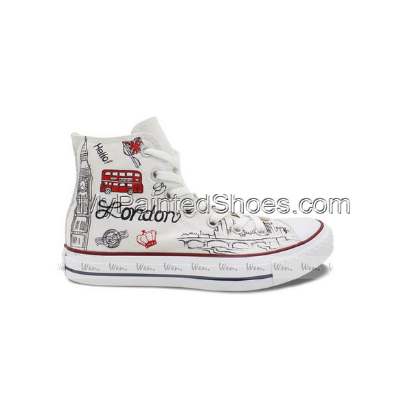 Converse All Star London Landmarks Hand painted High Top Unique -1