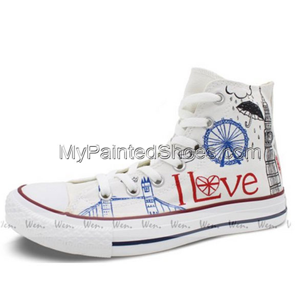 Converse All Star London Landmarks Hand painted High Top Unique -2