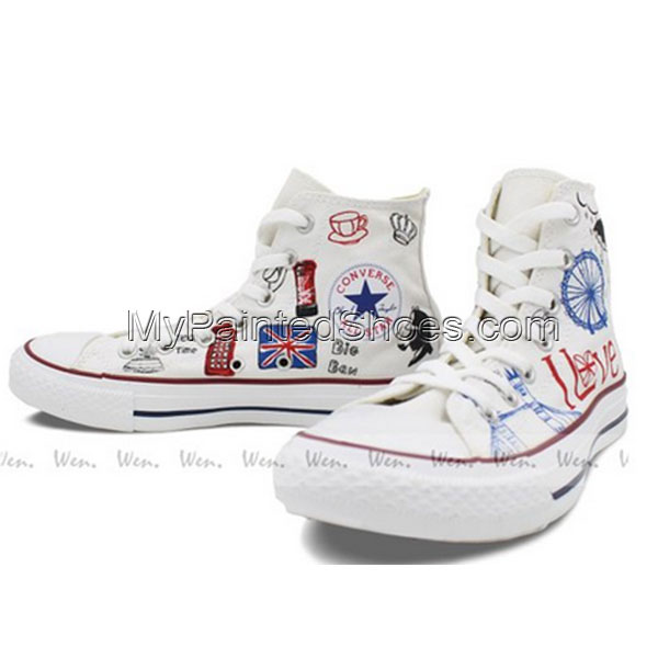 Converse All Star London Landmarks Hand painted High Top Unique -3