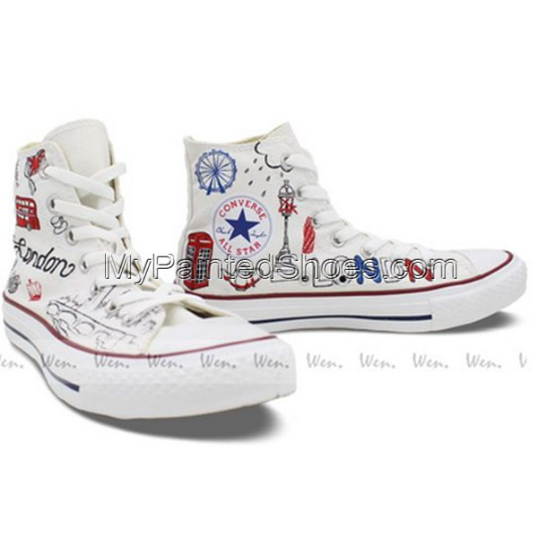 9f3fbd1753 Converse All Star London Landmarks Hand painted High Top Unique