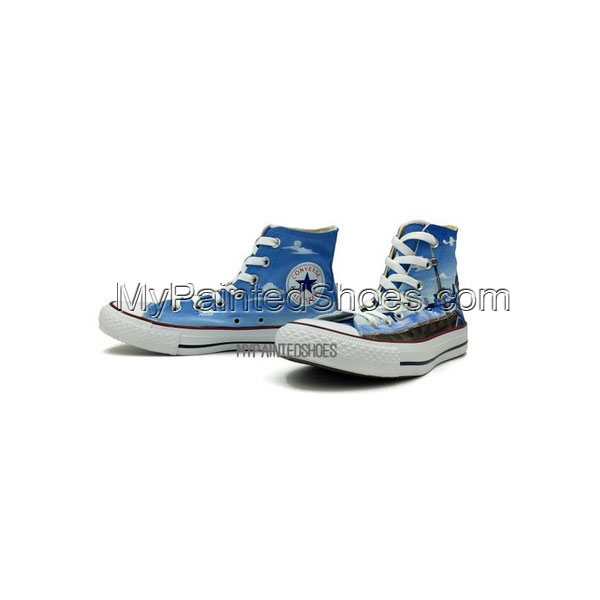 Converse All Star Hand Painted Stitch Toronto Skyline Men Women -3