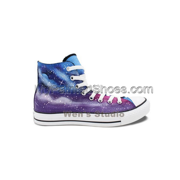 Blue Purple Galaxy Space Converse Shoes Unisex Chunk Taylor Hand-1