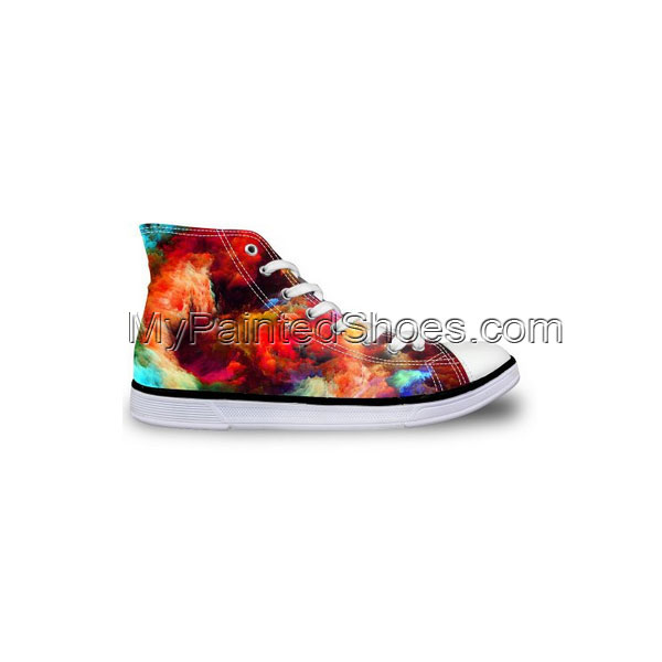 Galaxy Painted Women's Lace-up High Top Canvas Shoes Fashion Sne-2