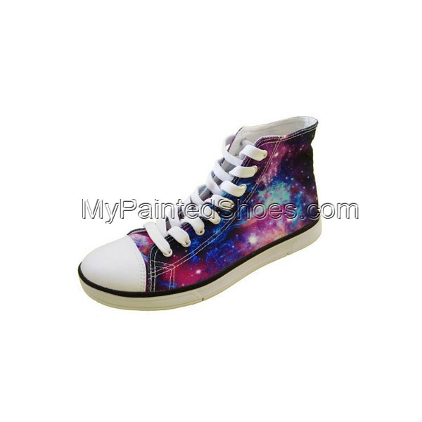 Galaxy Painted Women's Lace-up High Top Canvas Shoes Fashion Sne-3
