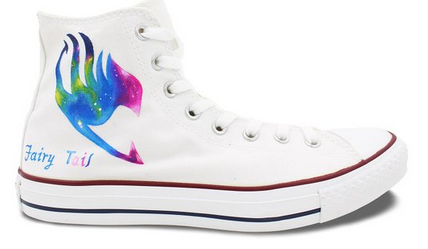 Fairy Tail Anime Converse All Star Shoes Hand Painted Galaxy Hig-1