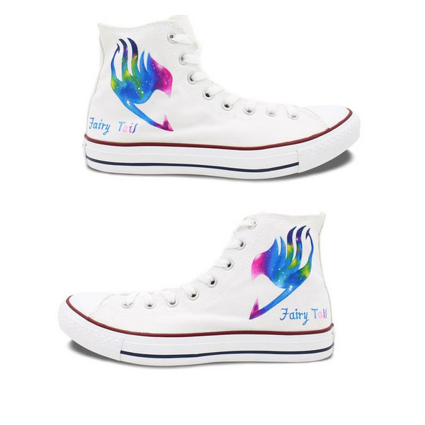 Fairy Tail Anime Converse All Star Shoes Hand Painted Galaxy Hig