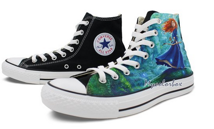 Womens Converse High Top Shoes Merida Princess Hand Painted Artw-2