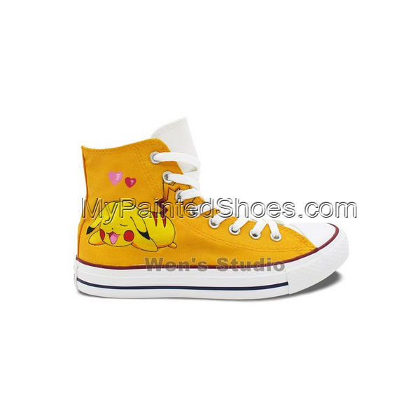 Pokemon Pikachu Converse All Star Shoes Boys Girls Hand Painted -1