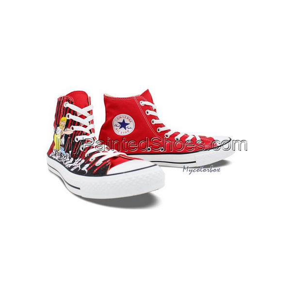 Red High Top Converse All Star Shoes Zombies Walking Dead Hand P-2