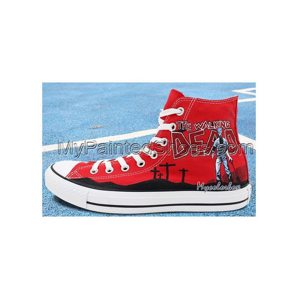 Red High Top Converse All Star Shoes Zombies Walking Dead Hand P-3