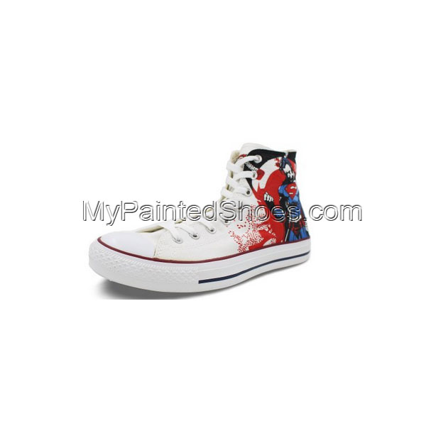 High Top Converse All Star Superman Hand Painted White Canvas Sn-1