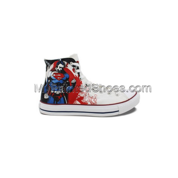 High Top Converse All Star Superman Hand Painted White Canvas Sn