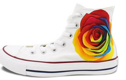 Unique Gifts for Women Converse Shoes Colorful Rose hand Painted-1