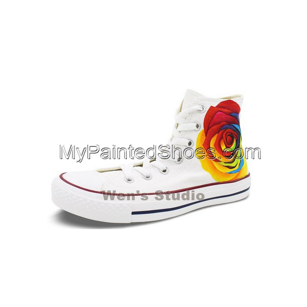 Unique Gifts for Women Converse Shoes Colorful Rose hand Painted-2