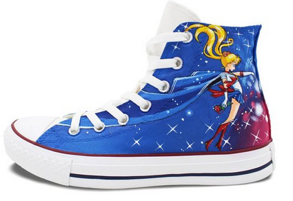 Blue Converse Womens Shoes Hand Painted Sailor Moon High Top Can-1