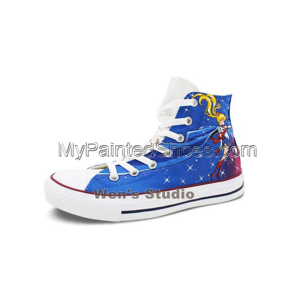 Blue Converse Womens Shoes Hand Painted Sailor Moon High Top Can-2