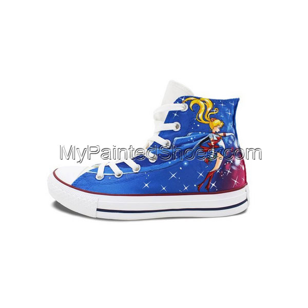 Blue Converse Womens Shoes Hand Painted Sailor Moon High Top Can