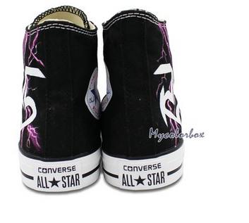 High Top Sneaker Converse R5 Logo lightning Hand Painted Customi-2