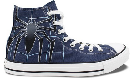 Mens Blue Converse All Star Spider Custom Hand Painted High Top -1