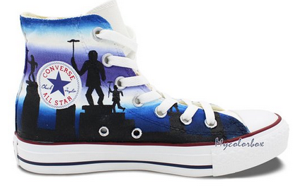 High Top Converse Shoes Mary Poppins Hand Painted Customizable M-3
