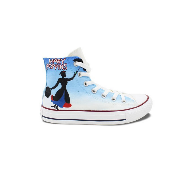 Top High Top Converse Shoes Mary Poppins Hand Painted Customizable M QL22