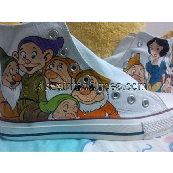 Disney High Top Converse Shoes  Disney's Snow White Anime Shoes -1