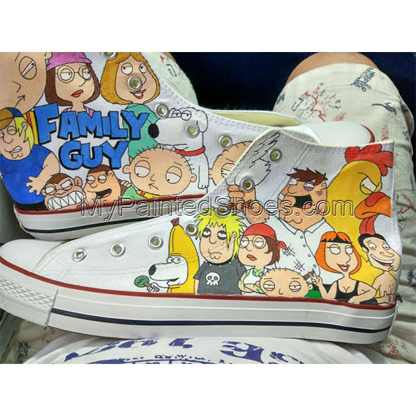 Family Guy High Top Converse Shoes Custom Converse Painted Shoes