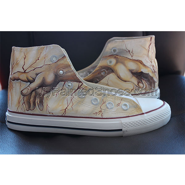 Creation of Adam Custom High-top Painted Canvas Shoes-1