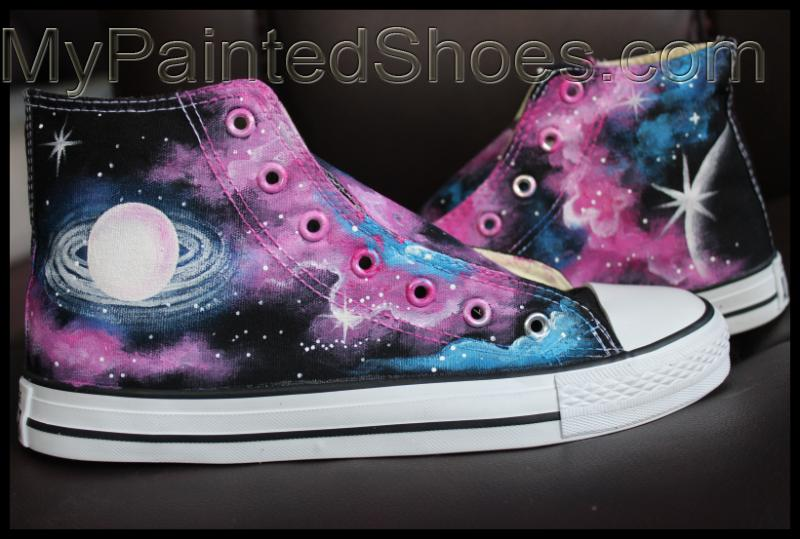 Galaxy High Top Converse Shoes Custom Converse Painted Shoes-1