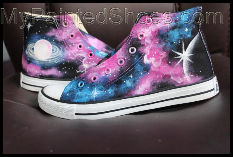 Galaxy High Top Converse Shoes Custom Converse Painted Shoes-2